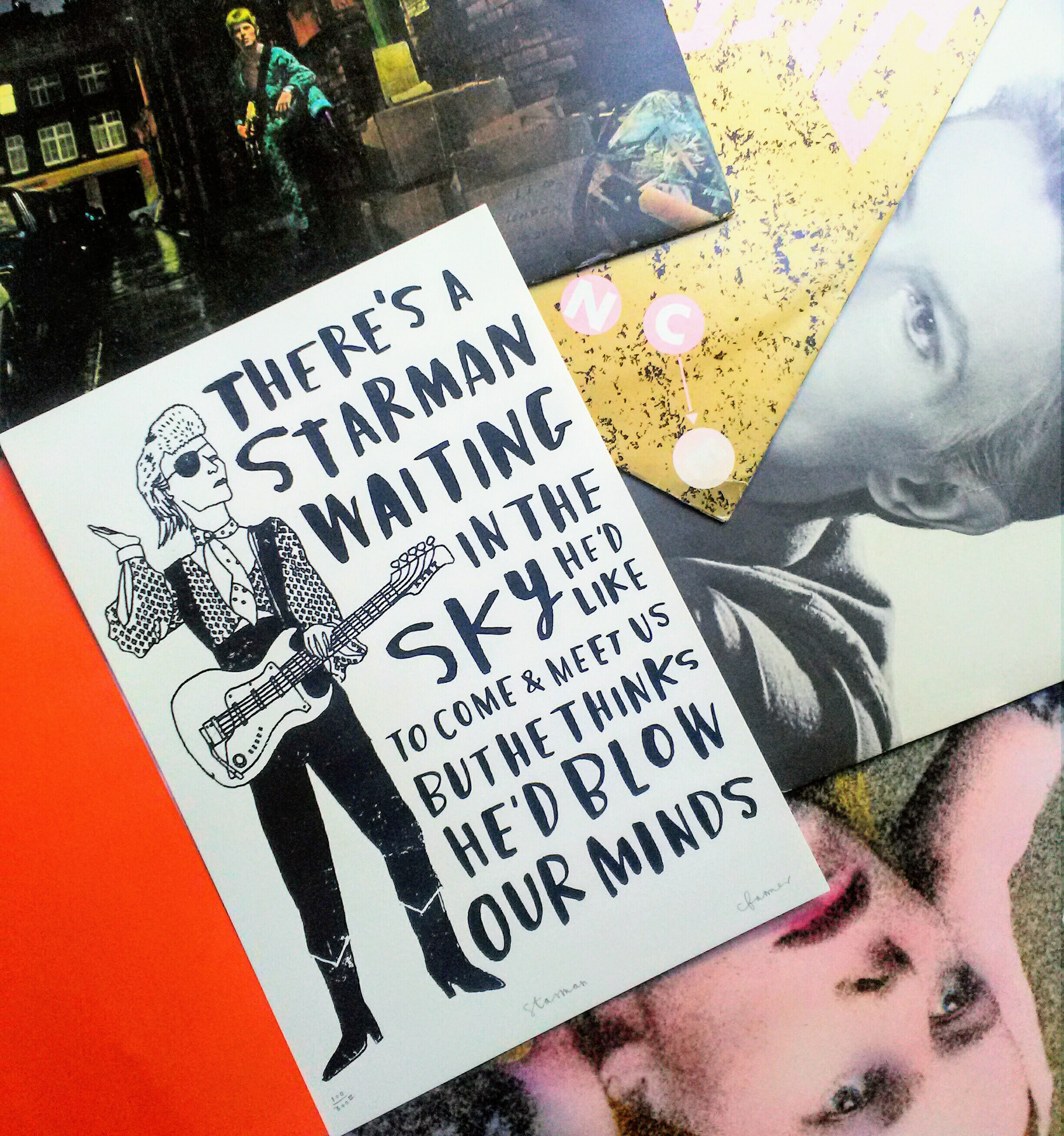 David Bowie print amongst David Bowie records
