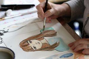 portrait workshop, live drawing, and smile