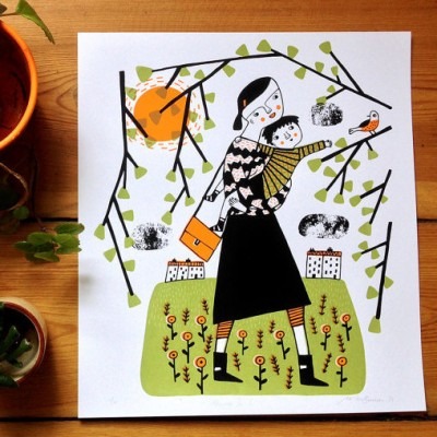 in the park, playground, parents, mother and child, screen print, mina braun