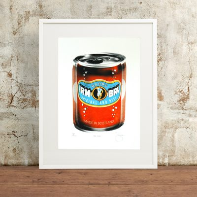 Irn Bru Screen Print by Barry Bulsara, Scottish Drink, Barrs