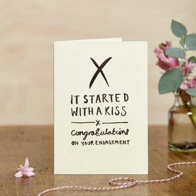It Started With A Kiss Engagement Card by Katie Leamon