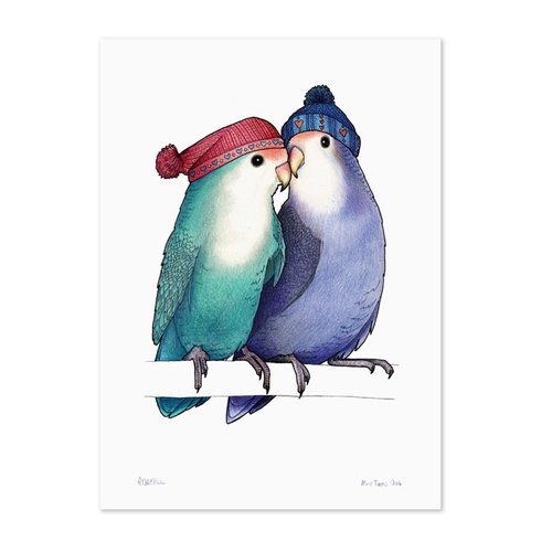 Love Birds In Bobble Hats Animal Kingdom Art Prints Flowers Botanical For Girls Framed Prints A4 Size Giclee Gocco Digital Prints Gift Ideas Love And Romance Ready Framed Prints