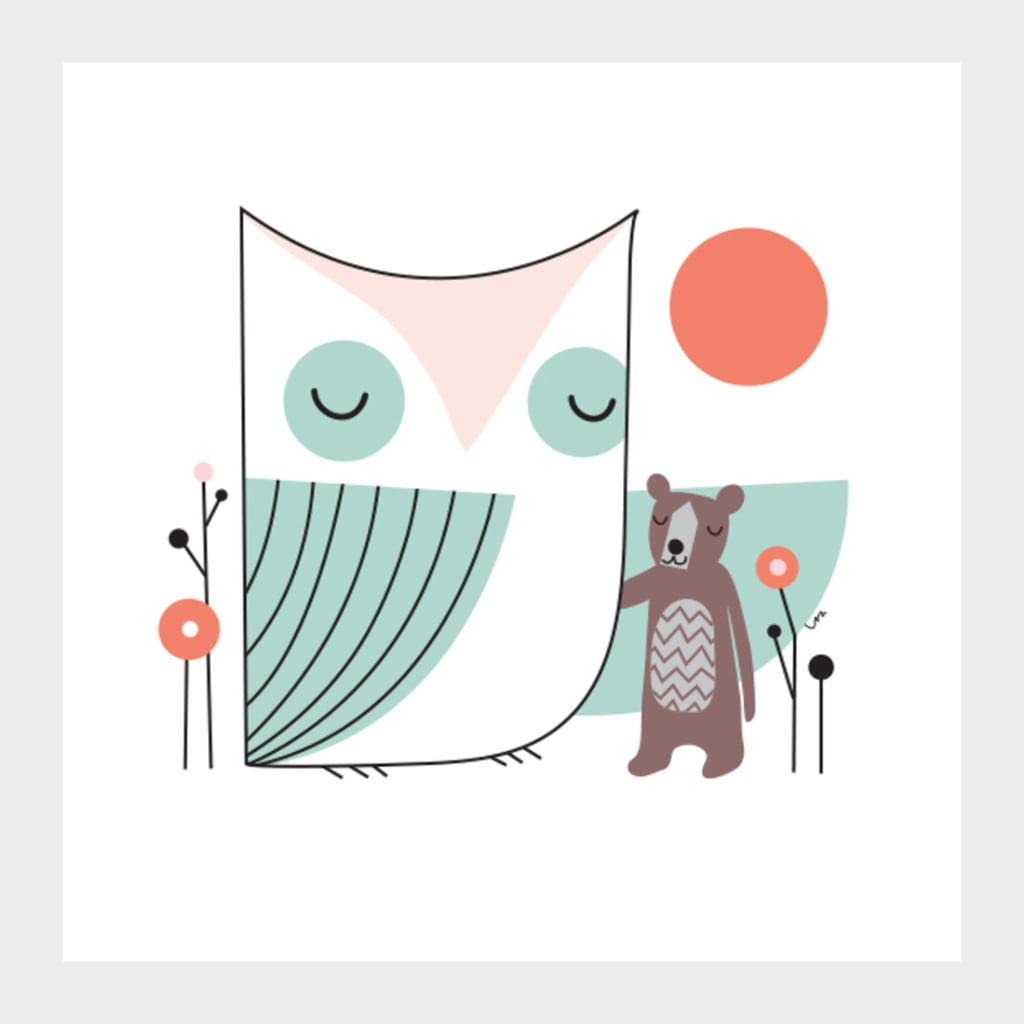 Little Friend, Owl and Bear, Kids, Digital Print, Nursery, Kids Room