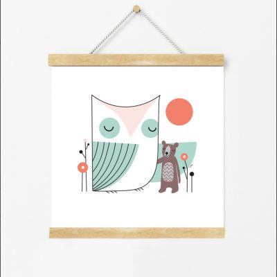 Little Friend, Owl and Bear, Kids, Digital Print, Nursery, Kids Room