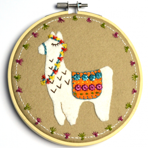 Llama Applique Embroidery Kit by Corinne Lapierre