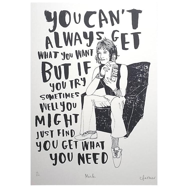 Mick Jagger Screen Print by Charlotte Farmer