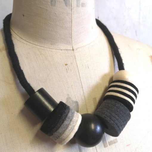 Industrial Felt, Wood and Rope Necklace