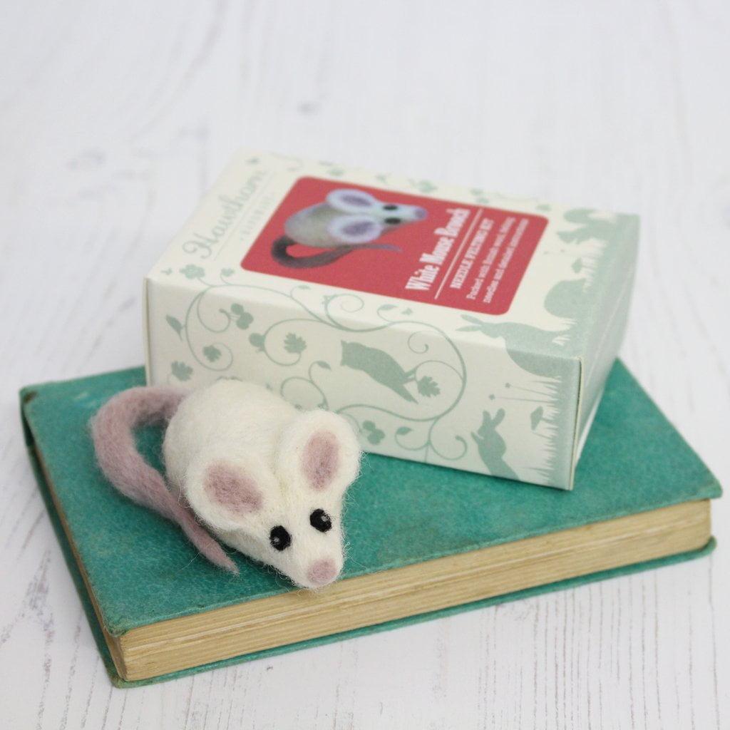 white mouse brooch needle felting kit