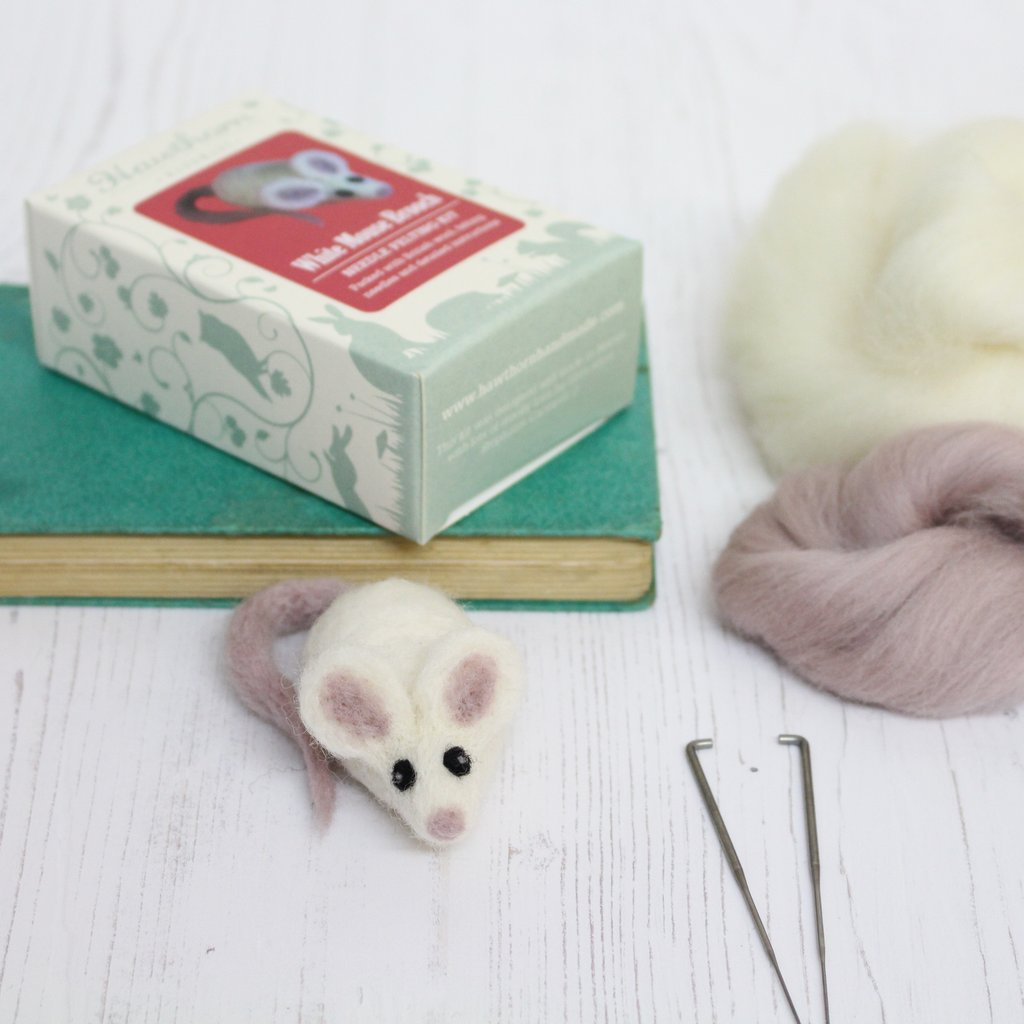White Mouse Brooch Needle Felting Kit Gifts Under 10