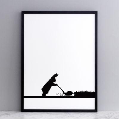 Mowing Rabbit print