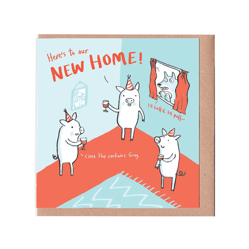 Pigs New Home Card - Humour, Fun and Puns, Cards & Wrap, Greetings Cards -  The Red Door Gallery - Art Prints, Design Products and Creative Gifts