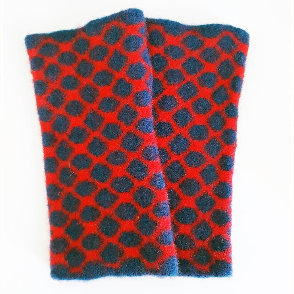 Geometric Lambswool Wristwarmers by Fiona Glen
