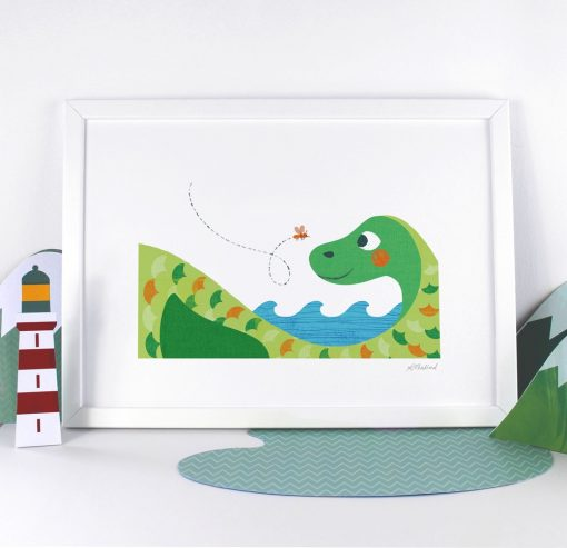 Nessie the Loch Ness Monster Print by Kate Mclelland