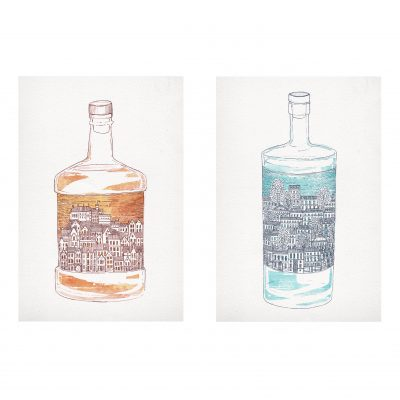 Old Town Whiskey & New Town Gin by David Fleck - Crag and Tale exhibition at The Red Door Gallery curated by Nicky Brooks SQ