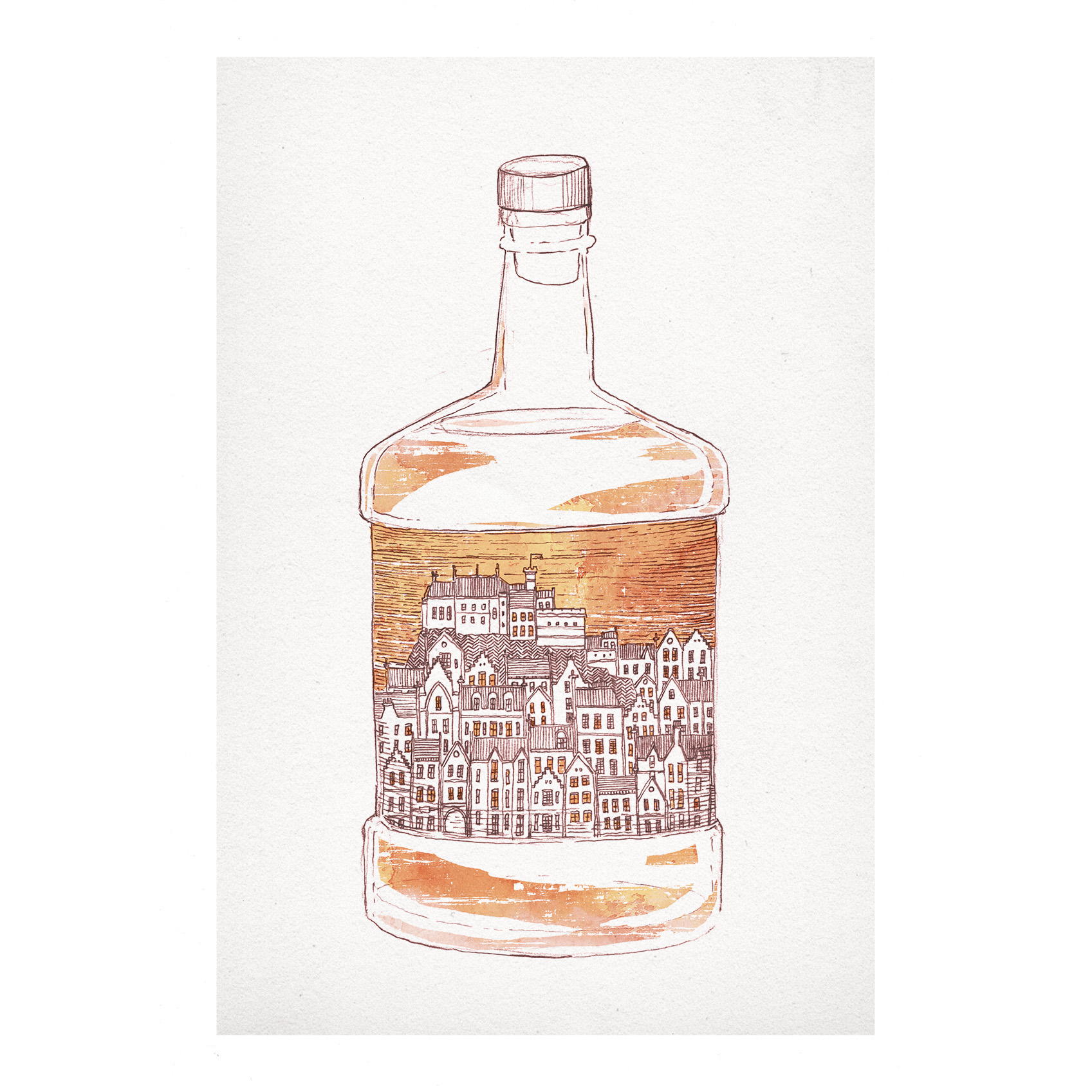 Edinburgh Old Town Whisky & New Town Gin prints at Red Door Gallery