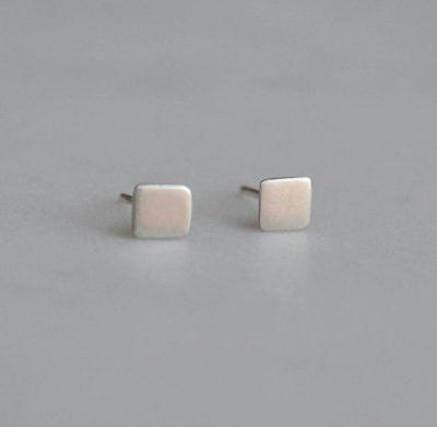 Silver square studs