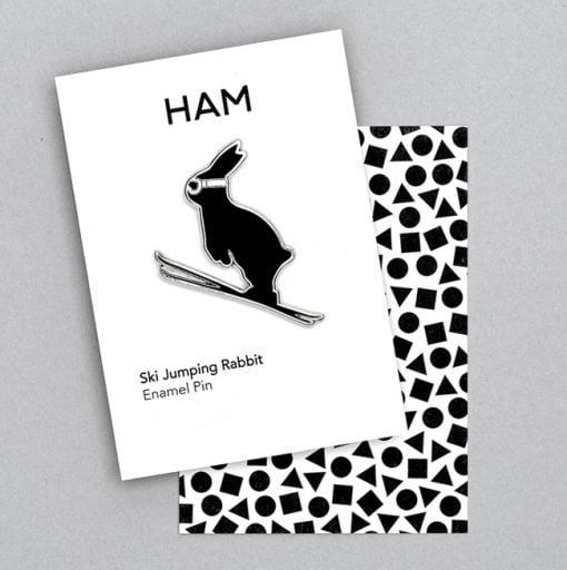 Skijump Bunny Enamel Pin by HamMad