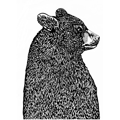 Small Bear in Profile screenprint by Susie Wright