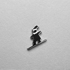 Snowboarding Bunny Enamel Pin by HamMad