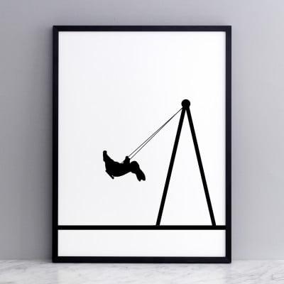 easter,swing, bunny, bunny on a swing, rabbit on a swing, HAM, park, animals on swings, monchrome, monochrome rabbit