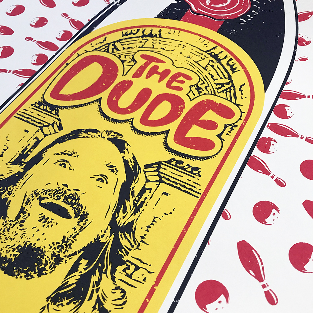 The Dude by Barry Bulsara. Limited Edition Screen Print. The Big Lebowski, Ethan and Joel Coen, Kahlu