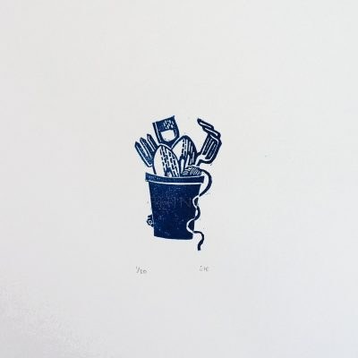 Tool Pot Linocut Print