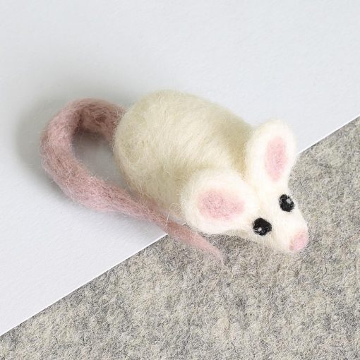 white mouse brooch needle felting kit