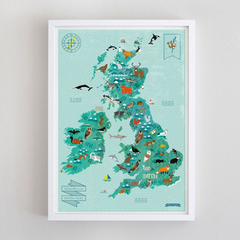 Wildlife of the British Isles Map - ▻Top Sellers, Giclée, Gocco ...