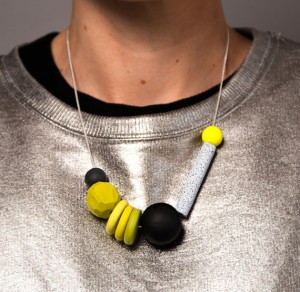 Yellow Geo Chalk Stick Neckklace by Monstrous Pencil