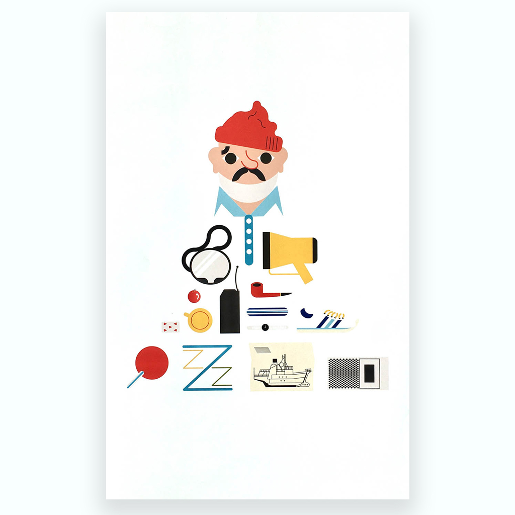 Steve Zissou Print by Charlotte Henderson for ECA Maps Exhibition