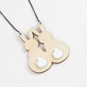bunny necklace, bunnies necklace, animal jewelery, wooden rabbit, garden friends, laser etched, wood and acrylic