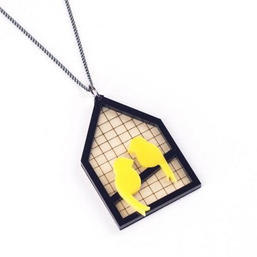 canary, aviary, yellow canaries, laser etched jewellery, wood, acrylic, animal jewllery