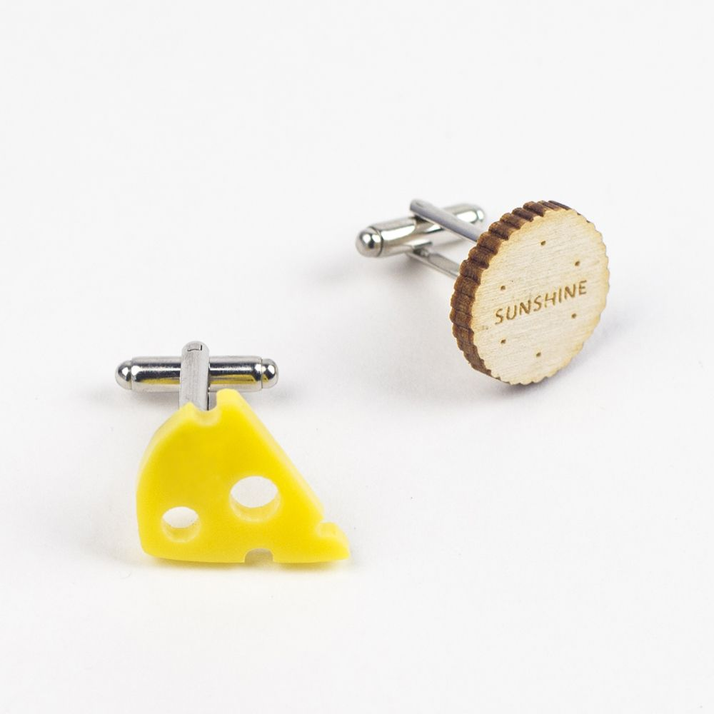 cheese and biscuits, cheese, crackers, wooden jewellery, acrylic jewellery, hello sunshine, jo want, cufflinks, men