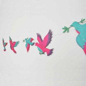 colourful birds, garland, bunting, screen printed, decoration, east end press