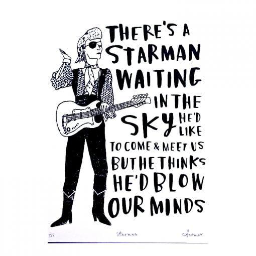 star man, david bowie, music, ziggy stardust, screen print, charlotte farmer