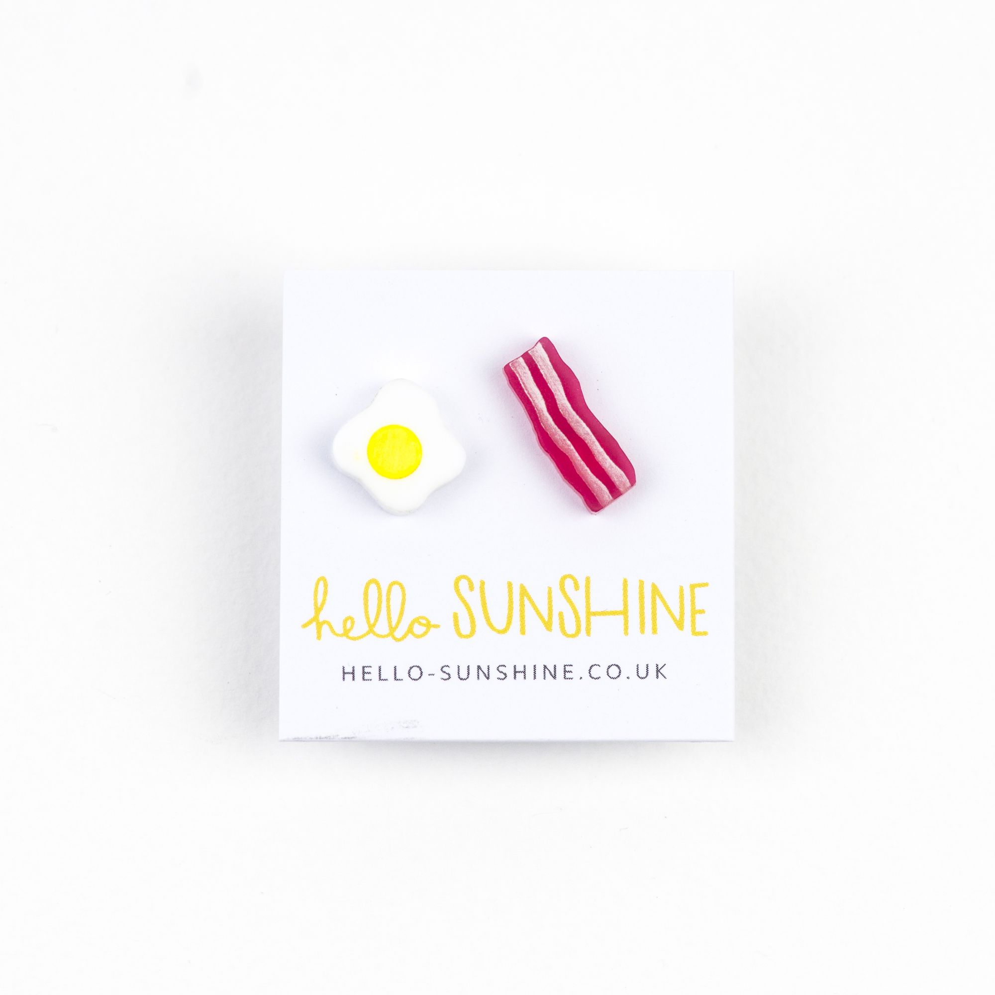hello sunshine, breakfast, eggs, fried egg, sunny side up, bacon, streaky, earrings, jewellery,