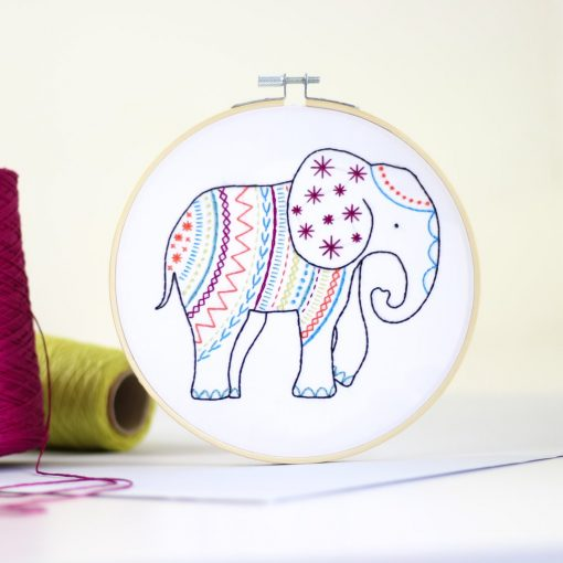 Elephant Contemporary Embroidery by Hawthorn Handmade