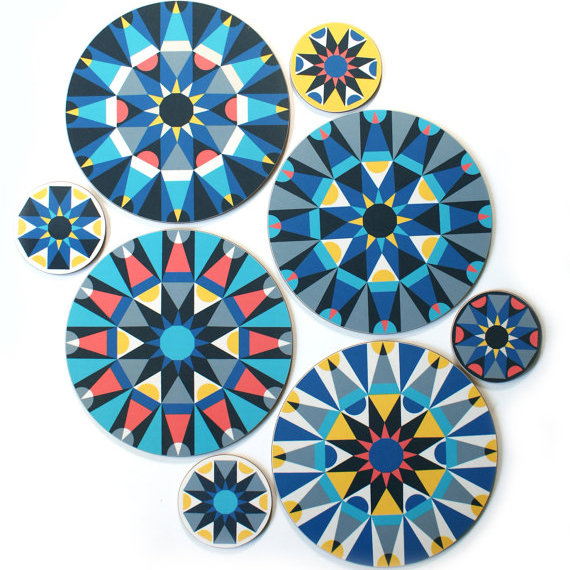 galaxy coasters, fun makes good, constellation, geometric, tablemats