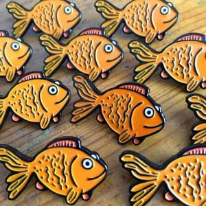 goldfish enamel pin, goldfish, retro, woah there pickle