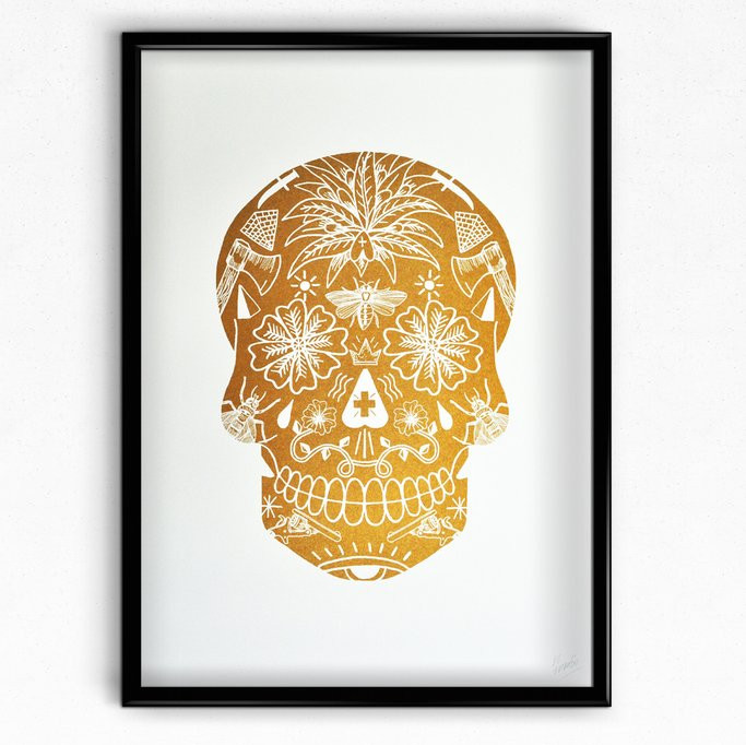 tat skull, sugar skull, rich fairhead, el famoso, risograph, limited edition, halloween