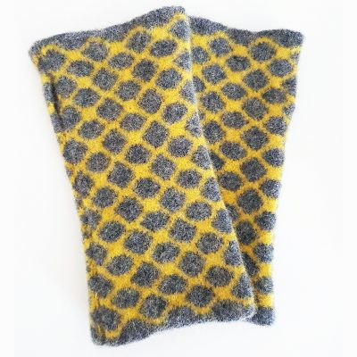 Geometric Lambswool Wristwarmers by Fiona Glen