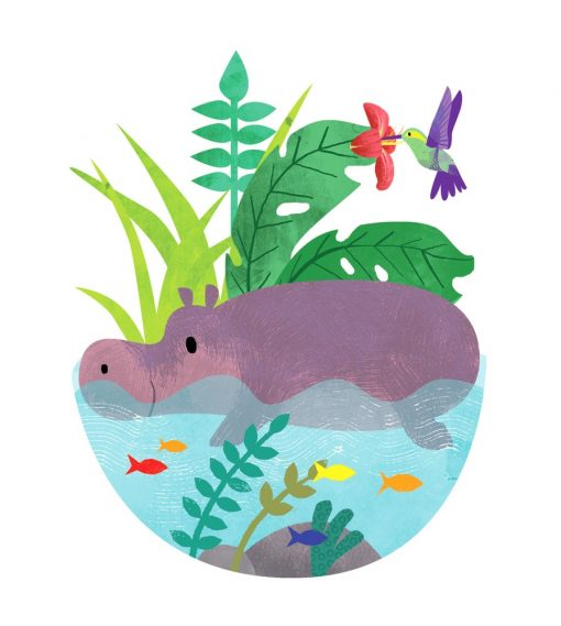 hippo in the lagoon by Kate McLelland