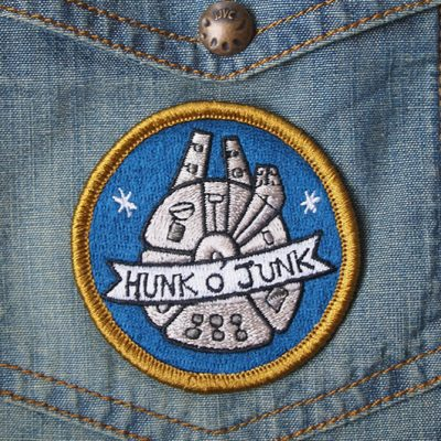 hunk of junk embroidered iron on patch sew on millenium falcon stars are braw star wars the grey earl 6