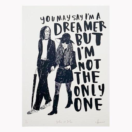 John and Yoko Ono limited edition screen print by Charlotte Farmer featuring popular Imagine lyrics.