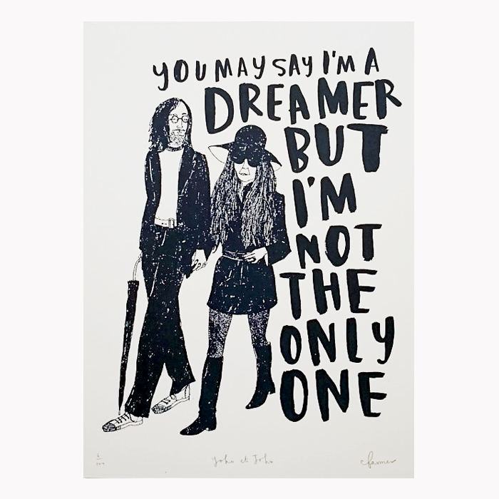 John and Yoko Ono limited edition screen print by Charlotte Farmer featuring popular Imagine lyrics.