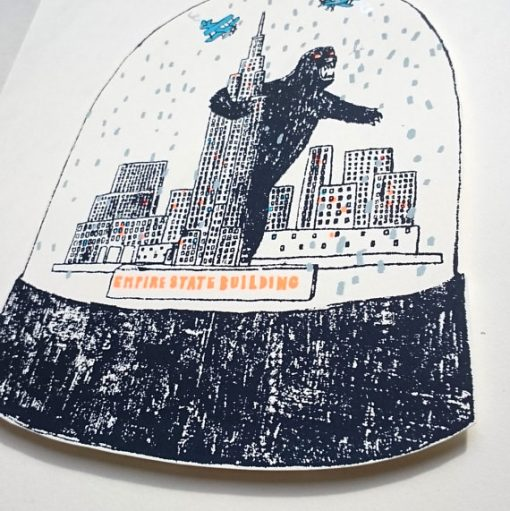 king kong, new york, empire state building, snow globe, screen print, charlotte farmer