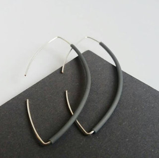 Rubber and Silver Earrings by AndLolita