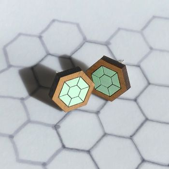 Hexagon Gem Studs