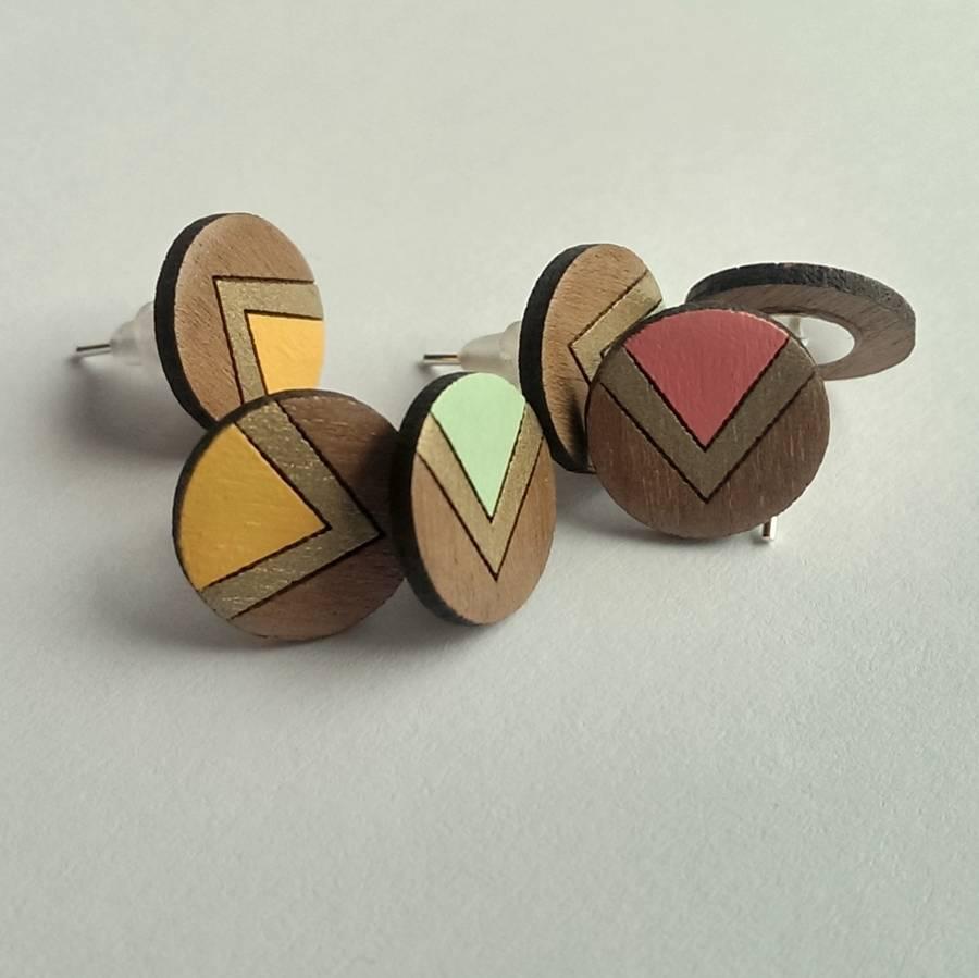Original Circle Chevron Wooden Stud Earrings 3 Copy