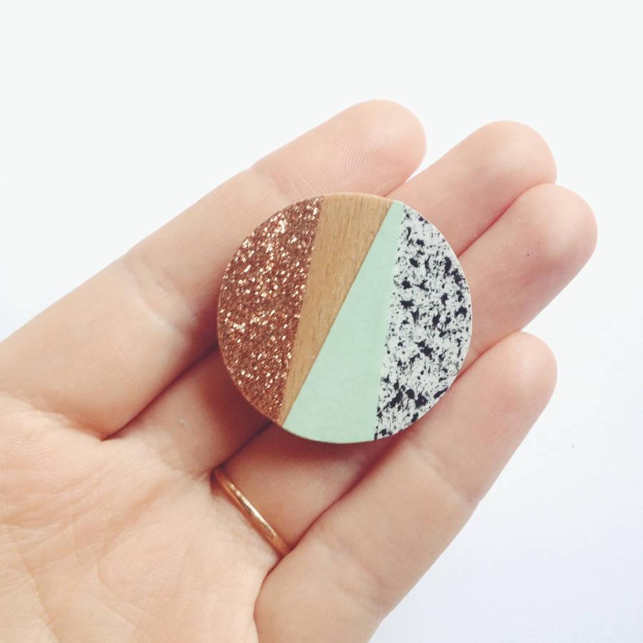 party brooch, lucie ellen, mint, copper. glitter, brooch
